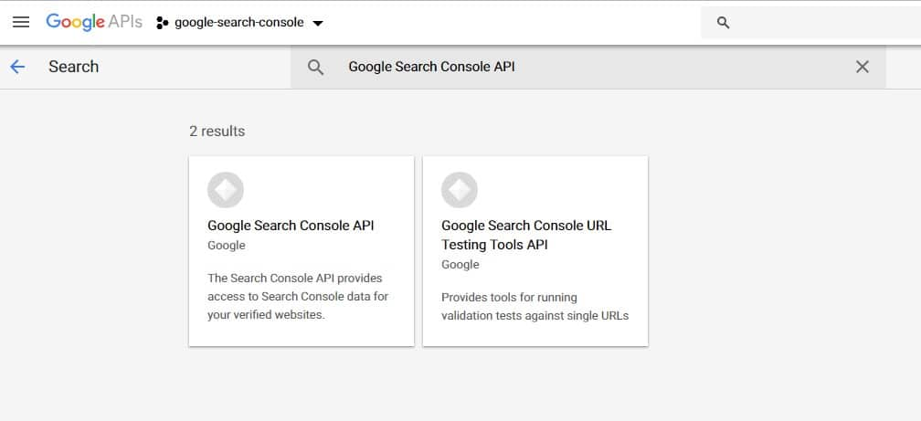 enable search console api