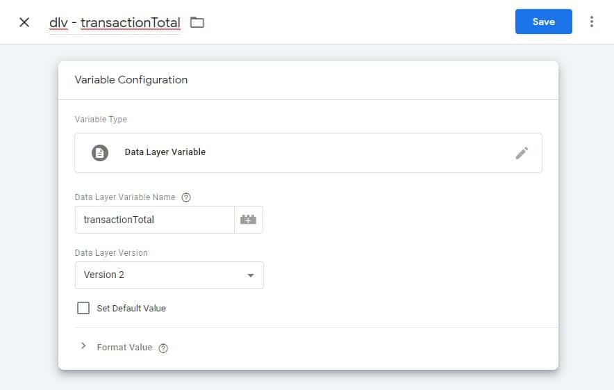 Configure the data layer variable