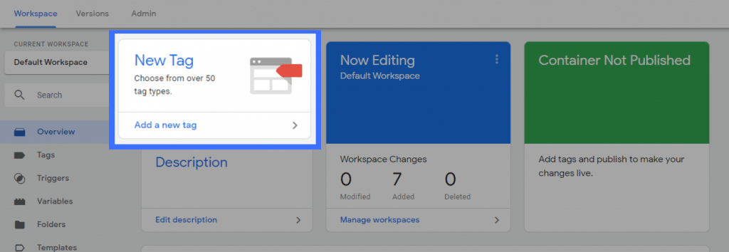 Create a new tag with Google Tag Manager