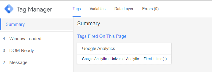 Preview tag firing in Google Tag Manager Preview Tool