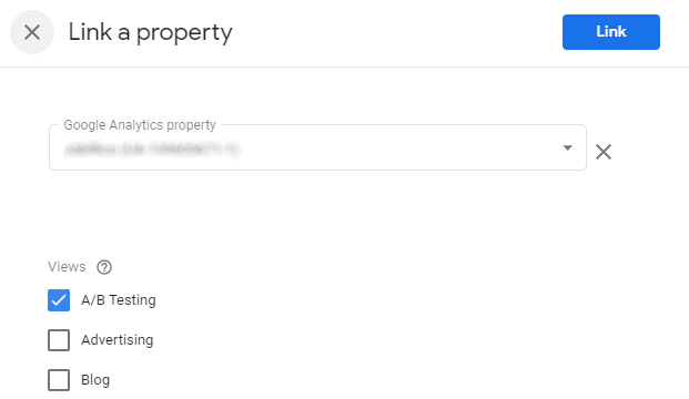 Link property with Google Optimize