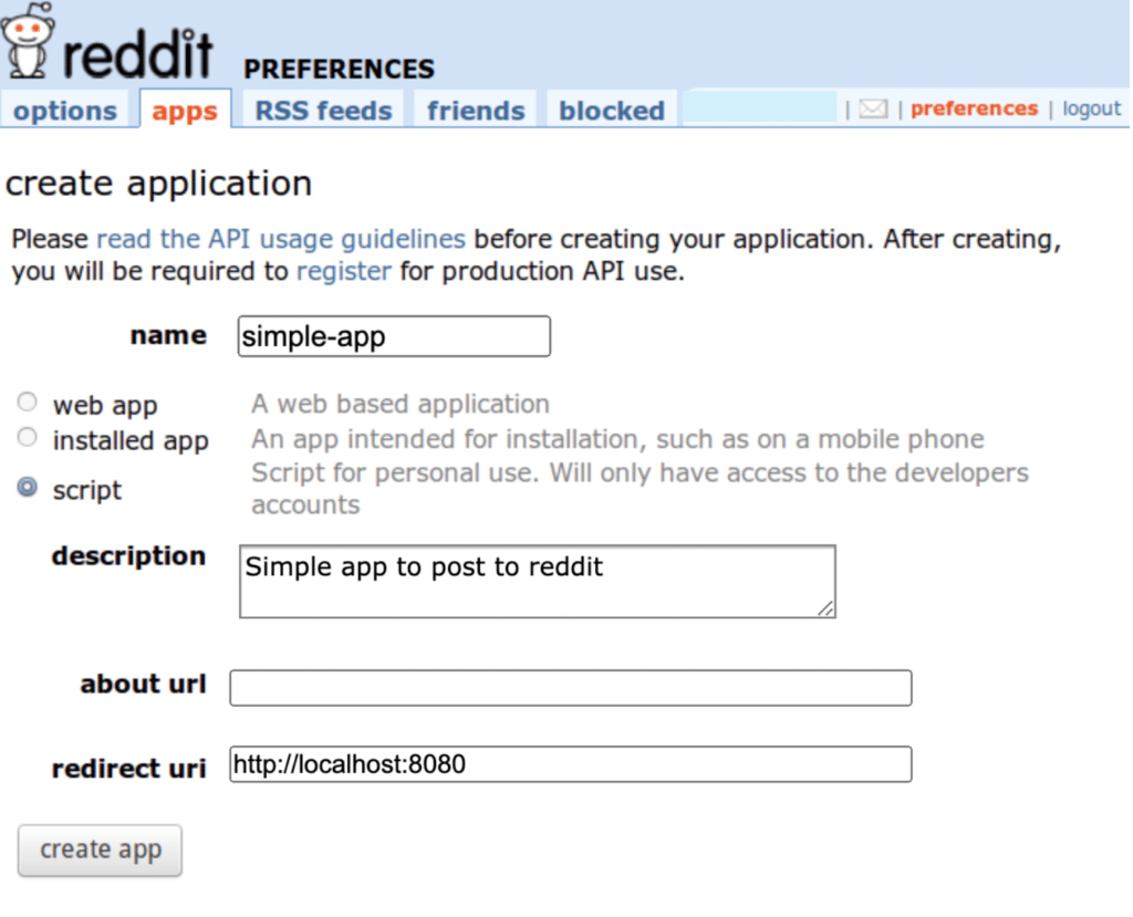 Create the app on Reddit