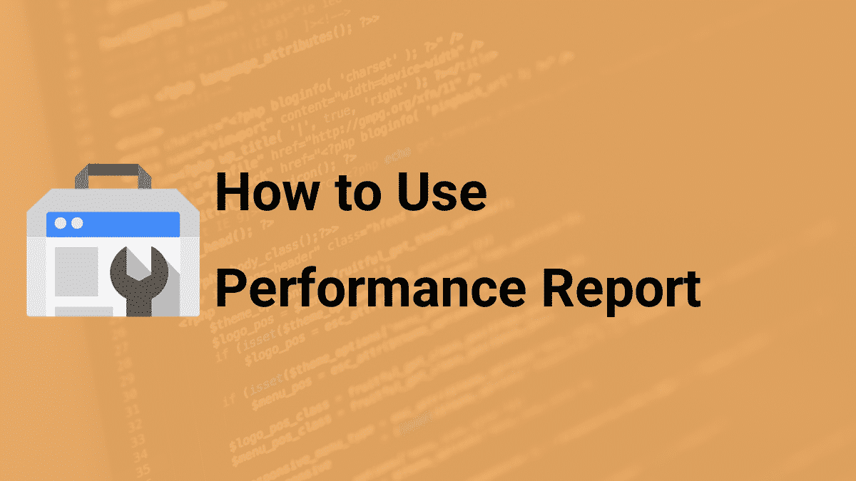 how to use the performance report